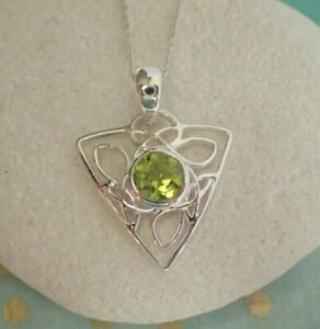 Sterling Silver Celtic Style 6mm Faceted Peridot Pendant - August Virgo