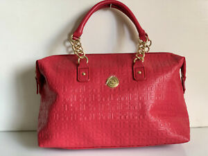 NEW! TOMMY HILFIGER RED BOWLER GOLD CHAIN SATCHEL TOTE BAG PURSE $85 SALE