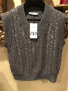 """100% Authentic ZARA Gray Sequin Knit Vest """"Limited Edition"""" Size: S"""