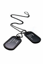 Military Army Style Black 2 Dog Tags Chain Mens Pendant Necklace LW