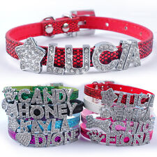 Personalised Puppy Cat Dog Collars Customized Diamond Free Name&Charm XXS XS