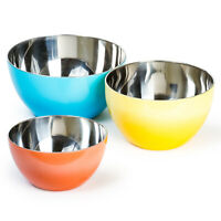 Stainless Steel German Mixing Bowl Set Multi Color - 3 Nested Bowls