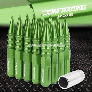 JDM ALUMINUM GREEN SPIKED LUG NUTS+ADAPTER 20PCS/SET M12X1.5 20MM OD/123MM TALL