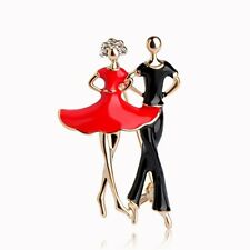 18K GOLD PLATED BLACK & RED ENAMEL & AUSTRIAN CRYSTAL DANCING COUPLE BROOCH.
