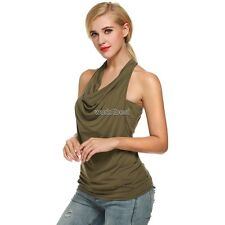 Zeagoo Women Cowl Neck Backless Solid Ruched Twinset Tank Tops AMW001
