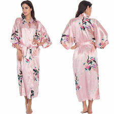 Women Silk Floral Long Kimono Bath Robe Dress Gown Bride Bridal Bridesmaid Party