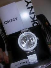 NEW DKNY  Ladies  NY8579  White Silicone Band Silver Dial Chronograph Watch