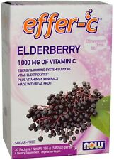 Now Foods ELDERBERRY Effer-C Drink Mix, 30 Packets - FRESH PHARMACY STOCK!