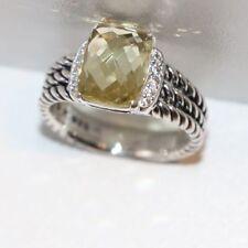 AUTHENTIC DAVID YURMAN 10x8 LEMON CITRINE & DIAMOND PETITE WHEATON RING SIZE 6.5