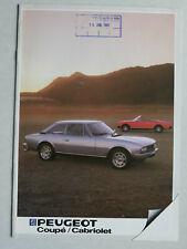 Prospekt Peugeot 504 Cabriolet / Coupé / Coupé V6, 1983, 16 Seiten