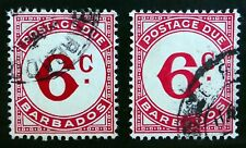 BARBADOS 1965 - 6c Postage Dues Both Shades D9/D9a Used Cat £19 SEE BELOW NK569