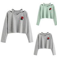 Fashion Women Long Sleeve Sweatshirt Rose Print Causal Crop Tops V-Neck Blouse