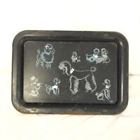 VINTAGE MCM FRENCH POODLE METAL TV TRAY-TRAY -RETRO POODLE