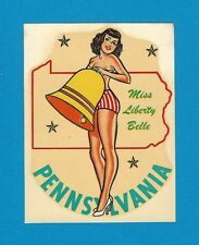 "VINTAGE ORIGINAL 1948 BELLE ""MISS PENNSYLVANIA"" STATE SEXY PINUP WATER DECAL ART"