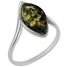 925 Solid Pure Sterling Silver Green Baltic Amber Marquise Ring