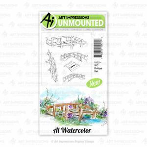 Watercolor Bridge Set Cling Rubber Stamp Set Art Impressions 5122 New