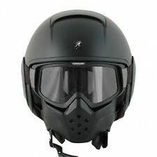 CASCO MOTO JET MILITARE SHARK RAW CUSTOM NERO MATTO VISIERA OCCHIALI TG. XL