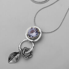 N01931LV SHABLOOL ISRAEL Didae Amazing Lavender CZ Sterling Silver 925 Necklace