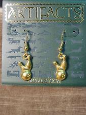 """""""JJ"""" Jonette Jewelry Gold Pewter 'BOWLING Ball & Pins' Earrings"""