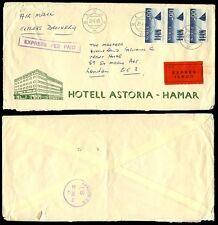 Norway Express 1965 Hotel Astoria Envelope to Gb