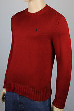 Polo Ralph Lauren Large L Red Crewneck Sweater Navy Pony NWT