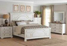 Traditional Farmhouse Style White & Brown 5 piece Bedroom Set w. Queen Bed IA74