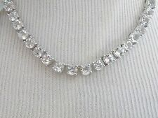 New Sterling Silver Genuine 28ct White Clear Sapphire Tennis Station Necklace