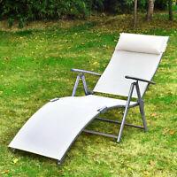Outsunny Lounger Chaise Reclining Chair Tri-Fold Portable Beach Cream
