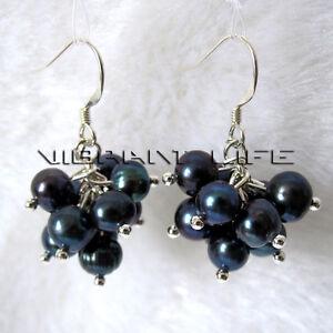 6-7mm Peacock Blue Freshwater Pearl Earrings Dangle Earrings D11S U