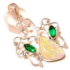 Dichroic Glass, Green Onyx Gemstone silver plated Handmade Artisan Boho Pendant