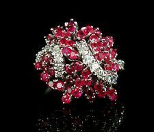 VINTAGE NATURAL 2.75ctw BURMESE RUBY & DIAMOND 18K WHITE GOLD LARGE CLUSTER RING