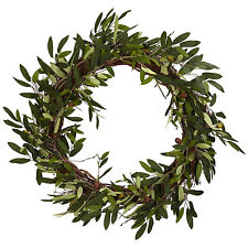 "20"" OLIVE WREATH-NEW-NEARLY NATURAL-LARGE DOOR/WALL GREEK/ITALIAN DECOR FAUX"