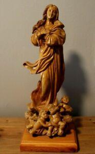 Vintage Zacharia Bros Of Bethlehem Hand Carved Olive Wood Madonna W/Cupids