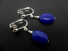NEW. A PAIR OF  LONG DANGLY BLUE JADE  BEAD CLIP ON EARRINGS