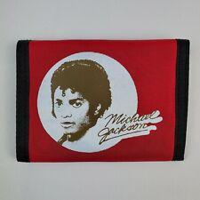 Vintage 1980'S MICHAEL JACKSON THRILLER Wallet NOS Nylon Red w Green BiFold