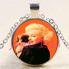 Marilyn Monroe Cabochon Tibetan silver Glass Chain Pendant Necklace #5896