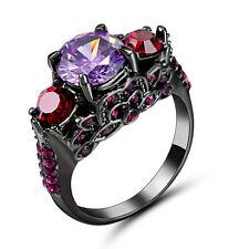 Size 8 Purple Amethyst CZ Wedding Ring 10KT Black Gold Filled Women's Jewelry
