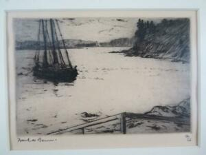 Framed Vintage Etching of a Ship in Inlet #11/50