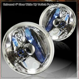 "4"" Round Chrome Housing Clear Lens Fog Driving Lights Kit + Switch Universal"