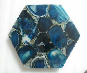 "12"" Blue Agate Corner Table Top semi precious stones Handmade work"