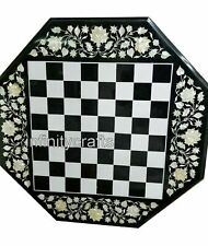 27 Inches Mable Coffee Table Top Handmade Chess Board Table Best for Kids Room
