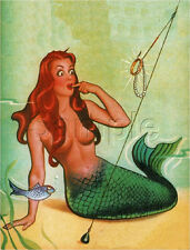 MERMAID FISHING HOOK PEARLS GOLD JEWELS FISH SEA PIN UP VINTAGE CANVAS ART PRINT
