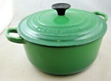 Le Creuset Cast Iron Round Casserole 20cm Green - In Good Condition