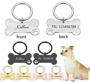 Personalized Pet ID Tag Keychain Engraved Name Number Collar Pendant Accessories
