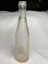 Vntg. Embossed Berkley Club Beverages 10 Oz Clear Soda Bottle Berkley Springs WV