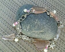 OCEAN BEACH JEWELRY, RARE PINK SEAGLASS w/ FRESHWATER  PEARLS BRACLET