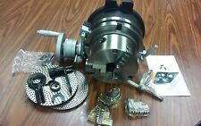 """8"""" PRECISION HORIZONTAL & VERTICAL ROTARY TABLE w. 3jaw chuck & index plates-new"""