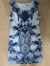 Vestido De Verano Phase Eight azul y blanco Elástico Tamaño 18-Totalmente Forrado