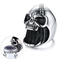 Men&Skull Rings Gothic Skeleton Punk Scar Jaw Stainless Steel Beer Bottle Opener