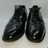 MENS JOHNSTON AND MURPHY BLACK CAP TOE HANDCRAFTED OXFORDS SHOES SIZE 9.5!